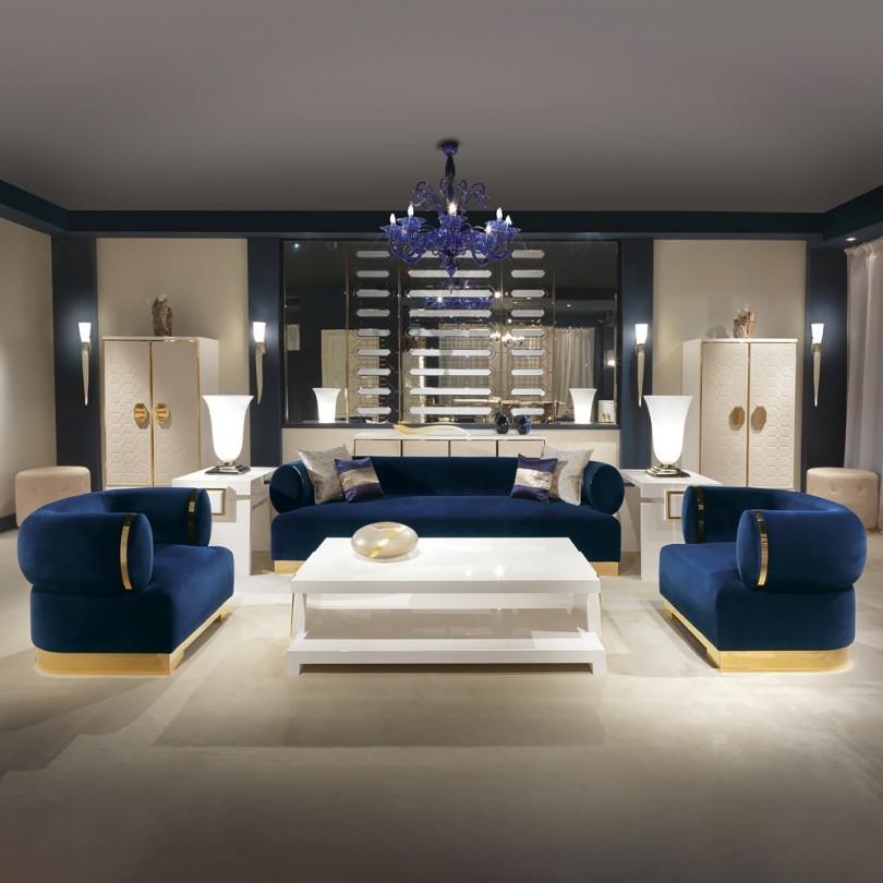 Modern İtalyan Tasarımı Mavi Kadife Koltuk