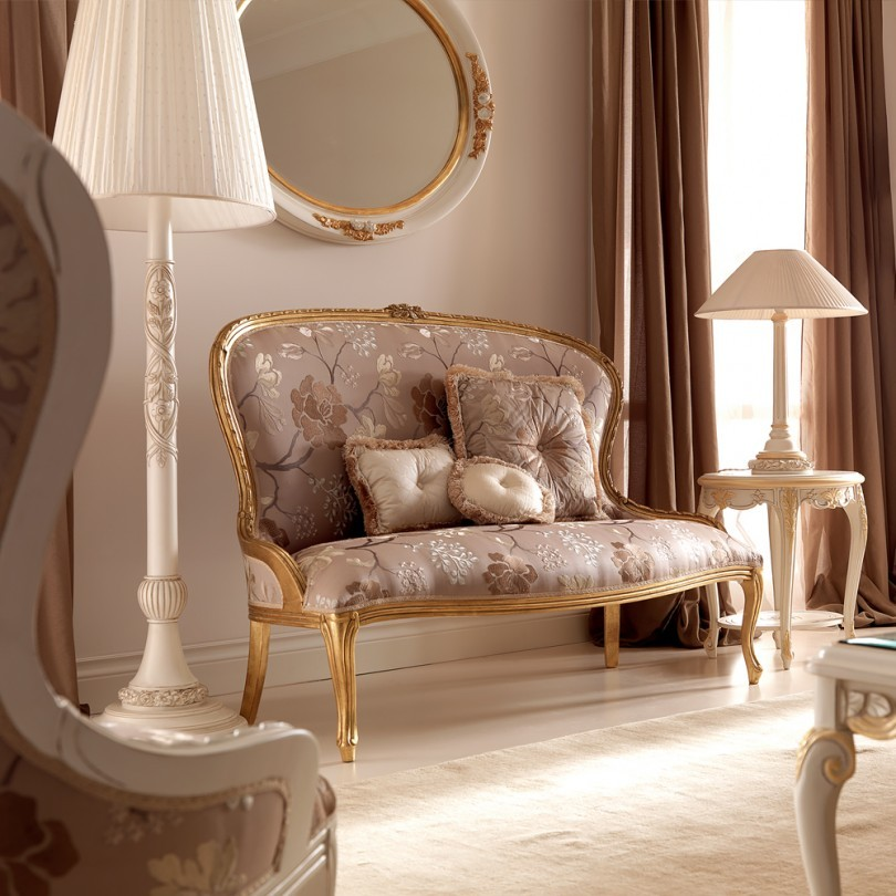 Venedik Stili Altın İtalyan 2 Kişilik Koltuk