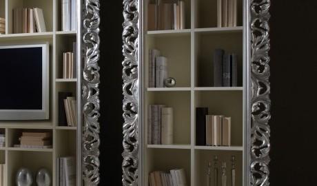 Büyük Gümüş Yaprak Rococo Kitaplık