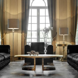 Tasarım Altın Varaklı Oval Modern Orta Sehpa